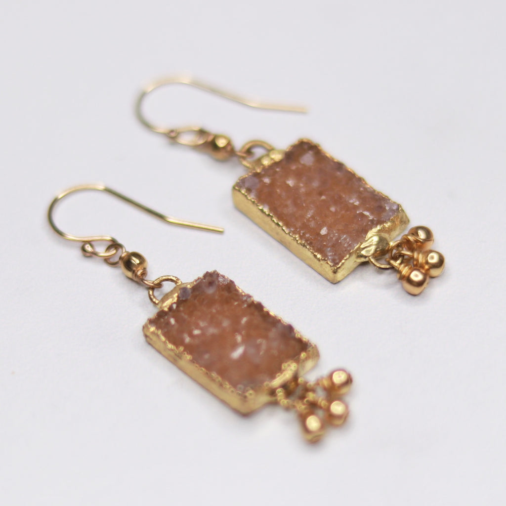 Light Brown/Carmel Rectangle Druzy Pendants with Gold-Filled Drops Fishhook Earrings  NEW