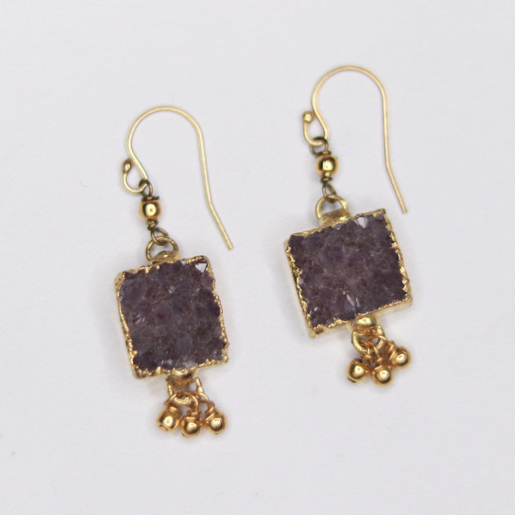 Charcoal Square Druzy Pendants with Gold-Filled Drops Fishhook Earrings  NEW