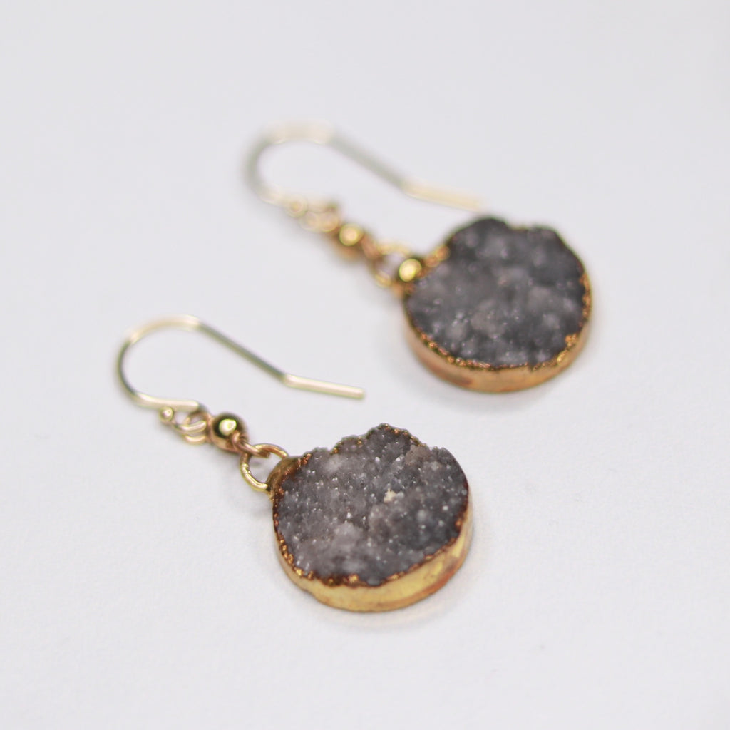 Charcoal Round Druzy Pendants with Gold-Filled Drops Fishhook Earrings  NEW