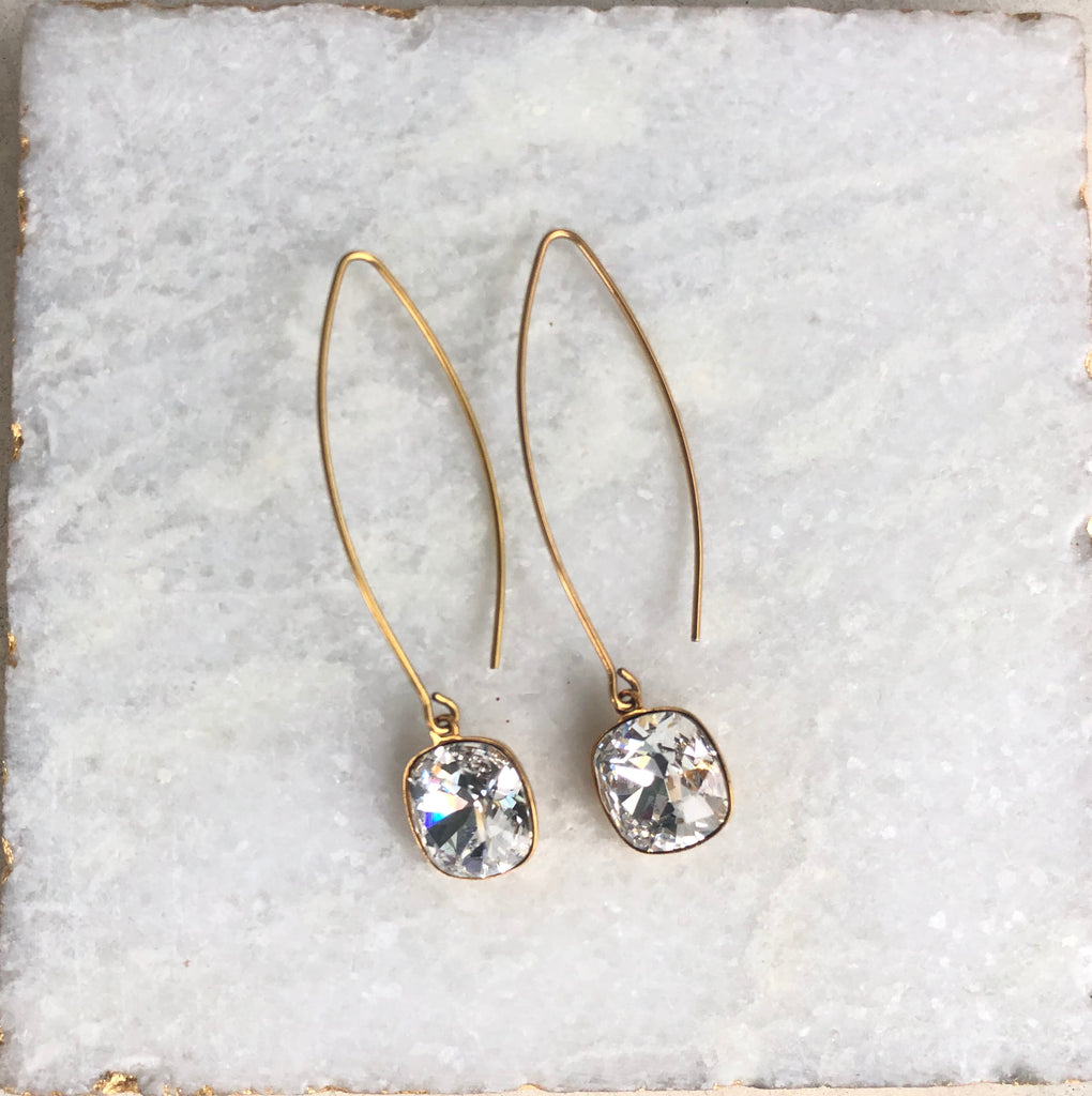 Swarovski Crystal Cushion Cut Pendant on Oval Earrings in Gold Filled or Sterling Silver  NEW