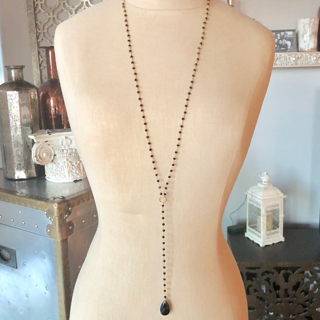 Jet Swarovski and Pyrite Chain Long Drop Necklace in Sterling Silver or Gold Filled  NEW
