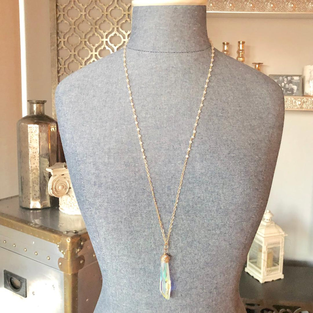 Moonstone Chain with Swarovski Crystal Icicle Pendant Necklace in Sterling Silver or Gold Filled  NEW