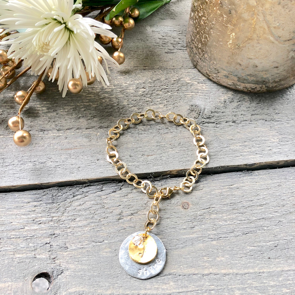 Gold Filled Inspirational Double Charm Bracelet NEW