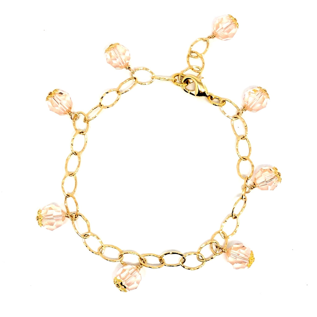 Gold Filled and Blush Swarovski Crystal Drop Bracelet NEW