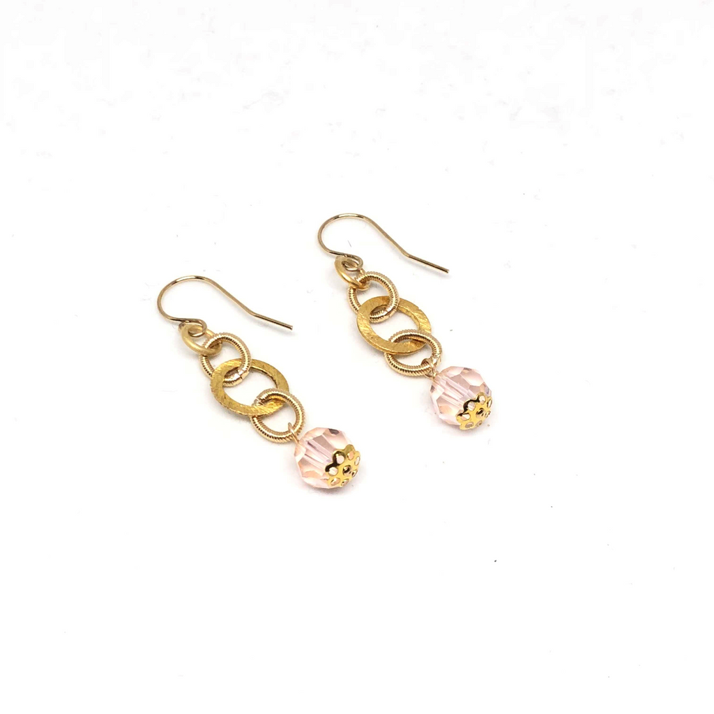 Gold Filled Loop Blush Swarovski Crystal Drop Earrings NEW