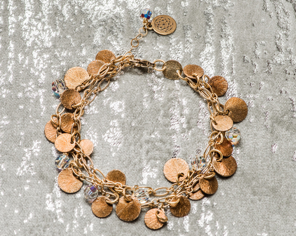 Tri-Strand Gold Mini Disc Bracelet
