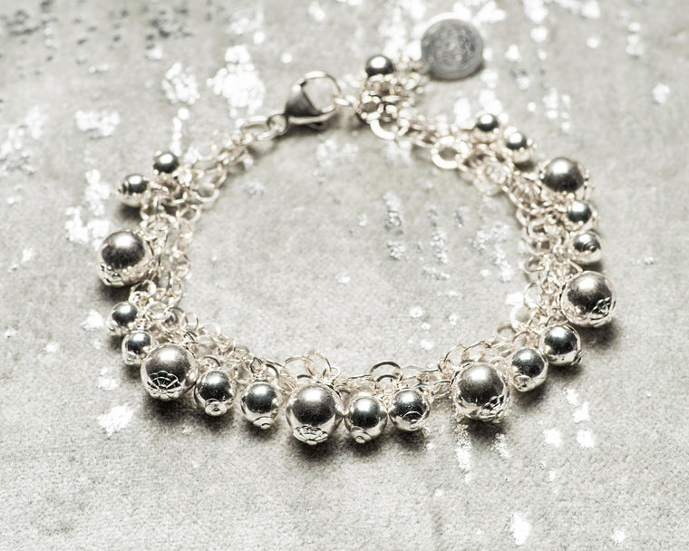Tri-Strand Sterling Silver Mini Ball Bracelet