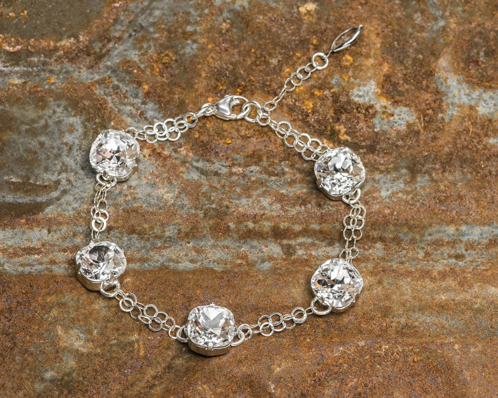 Sterling Silver Cushion Cut Clear Foiled Swarovski Crystal Link Bracelet NEW