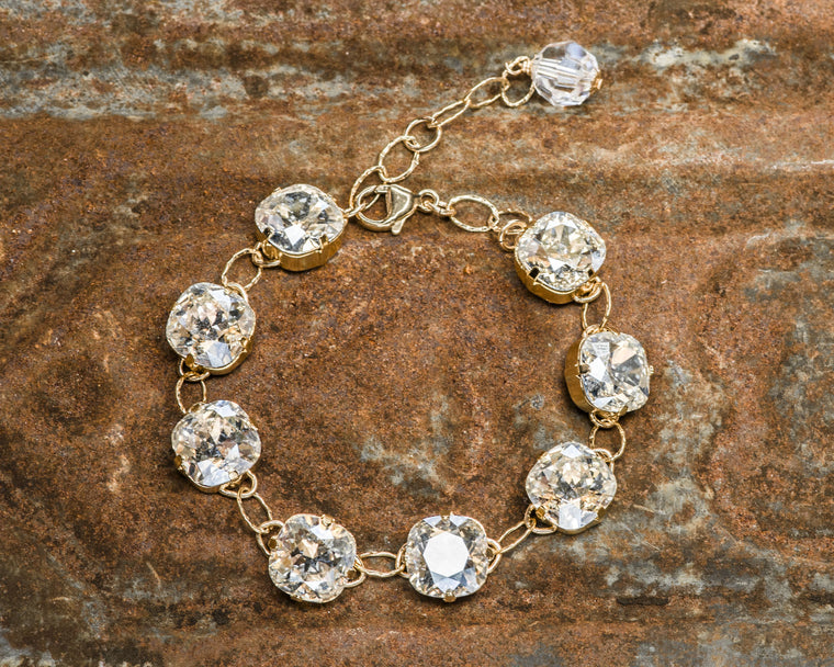 Gold Filled Cushion Cut Moonlight Foiled Swarovski Crystal Link Bracelet