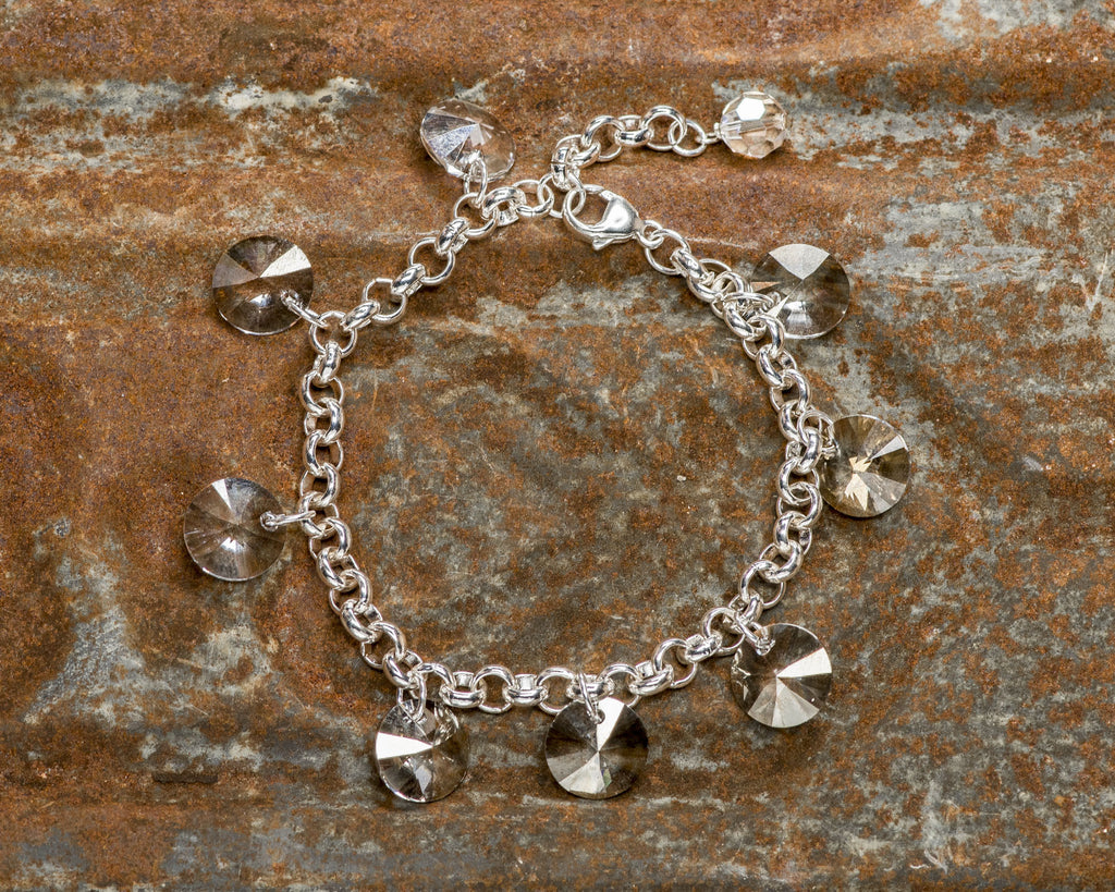 Sterling Silver Single Strand Silver Shade Swarovski Crystal Rivoli Drop Bracelet