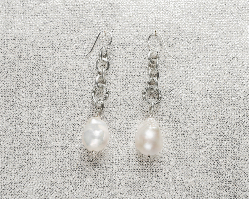 Life Bejeweled Baroque Pearl Long Drop Earrings