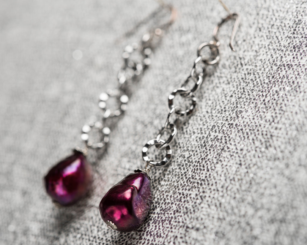 Life Bejeweled Black Cherry Baroque Pearl Long Chain Drop Earrings