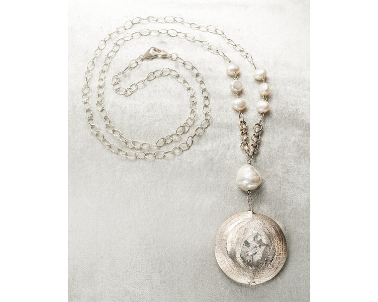 Life Bejeweled Medium Silver Disc and Baroque Pearl Necklace