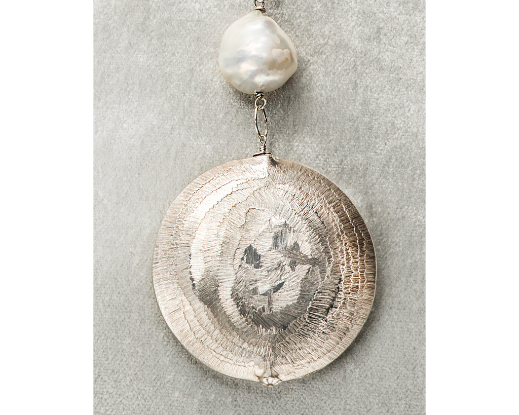 Life Bejeweled Medium Silver Disc and Baroque Pearl Necklace Disc Detail