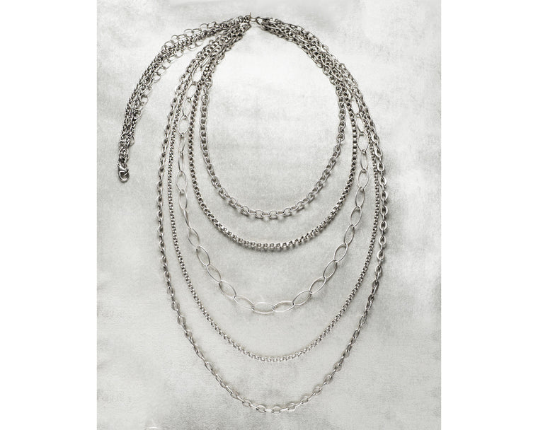 Life Bejeweled Brushed Silver Multi Strand Layering Necklace