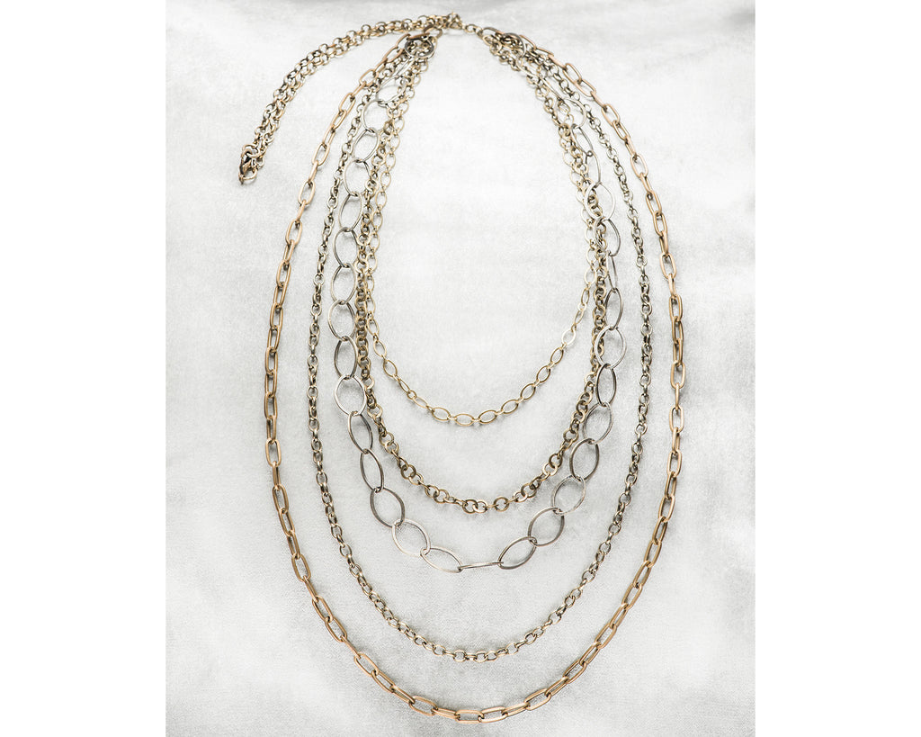 Life Bejeweled Antique Brass Multi Strand Layering Necklace