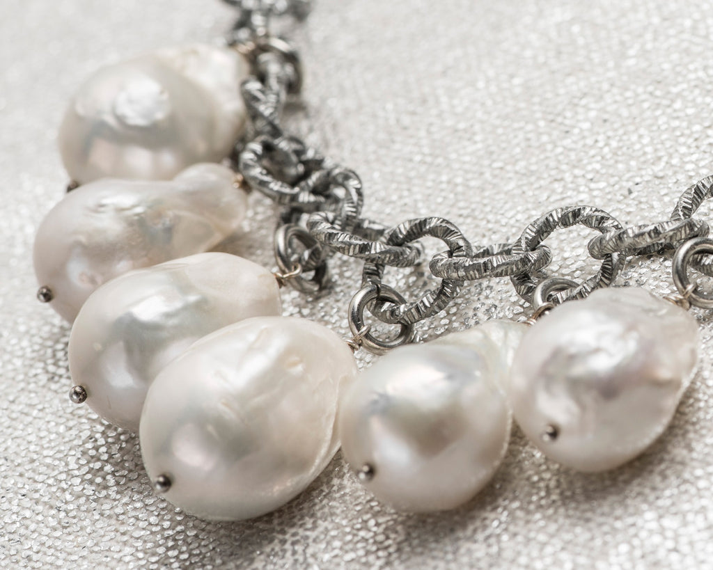 Life Bejeweled Multi-Drop Baroque Pearl Chunky Necklace Detail