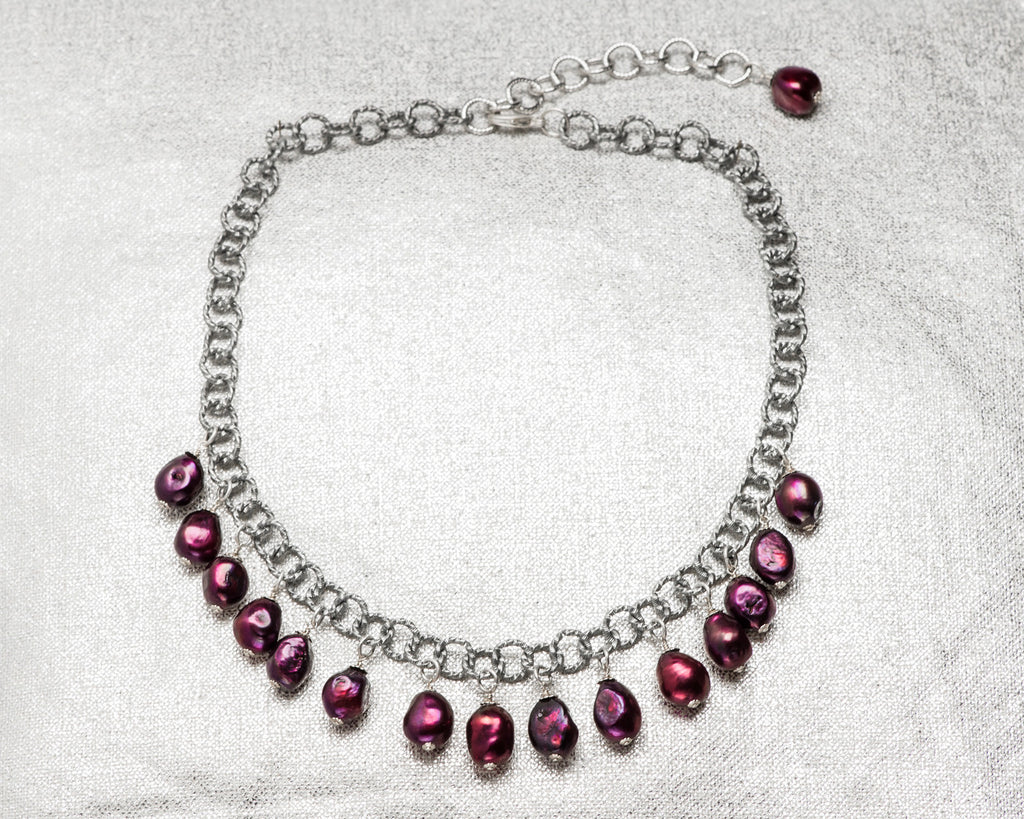Life Bejeweled Multi-Drop Black Cherry Baroque Pearl Chunky Necklace