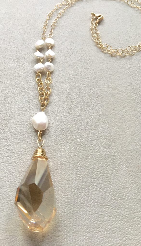 Long Pendant Swarovski Crystal Large Teardrop Gold Filled Necklace