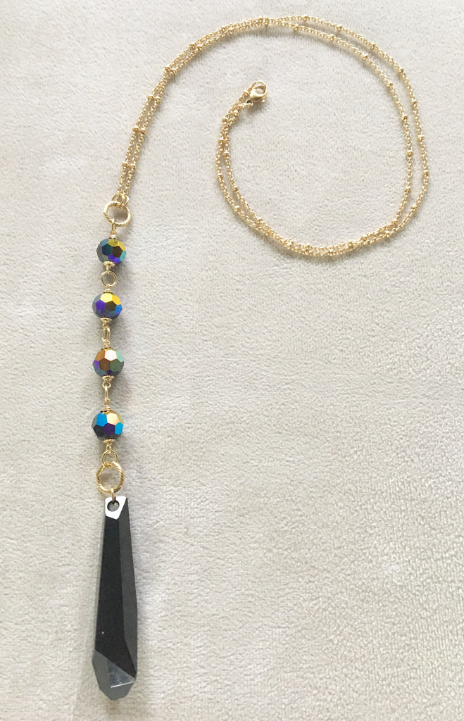 Long Pendant Swarovski Crystal Jet Icicle Gold Filled Necklace