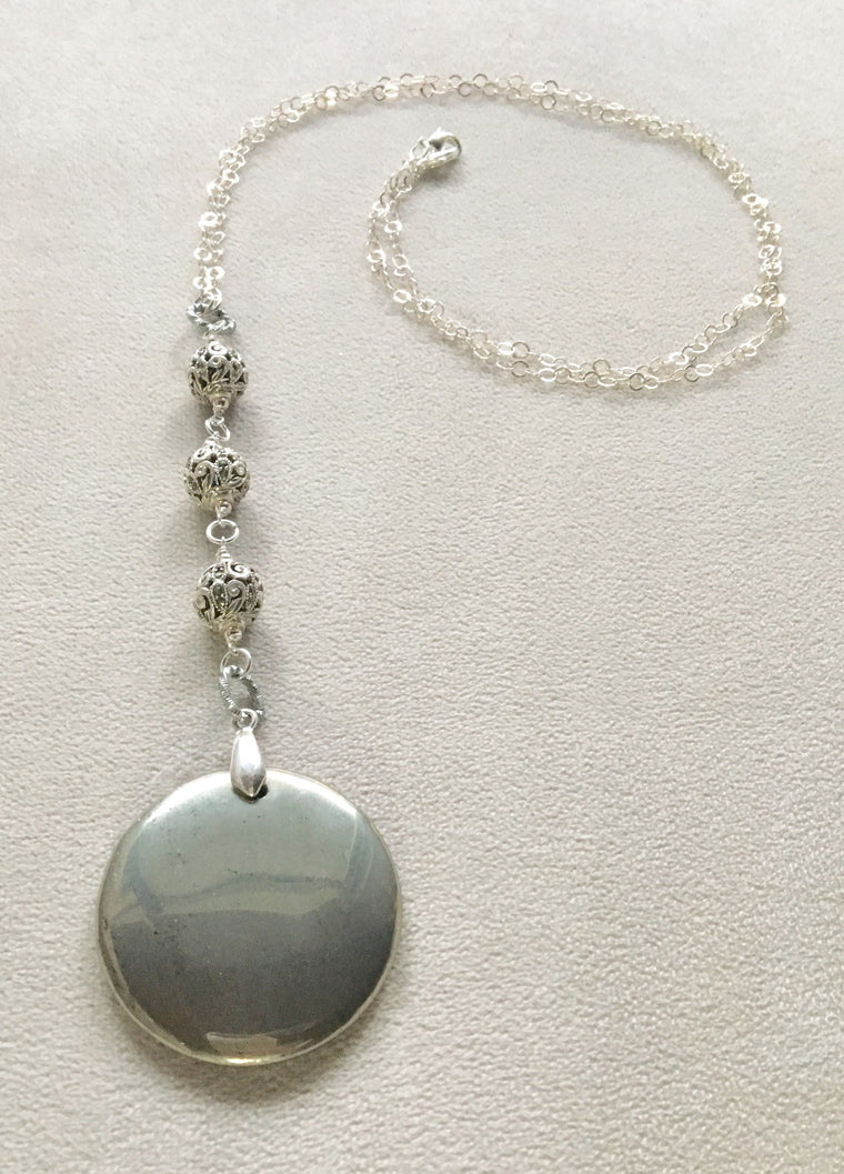 Long Pendant Round Pyrite with Pave Beads necklace