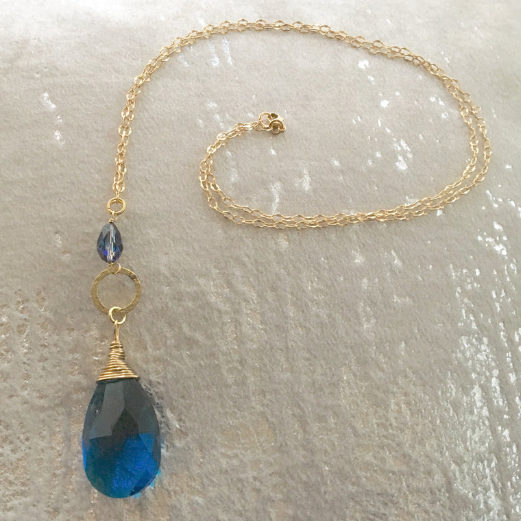 Long Pendant Gold Filled Dark Turquoise Teardrop necklace