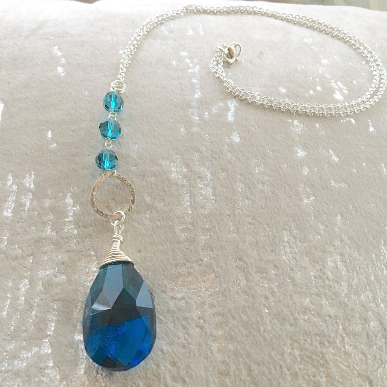 Long Pendant Sterling Silver Dark Turquoise Teardrop Pendant necklace