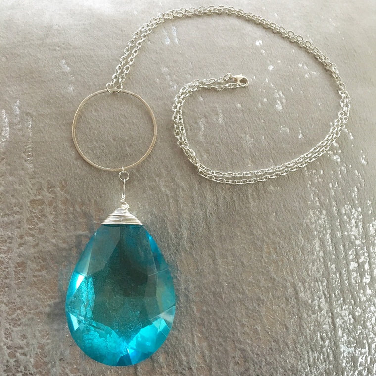 Long Pendant Sterling Silver Large Light Turquoise Teardrop Necklace