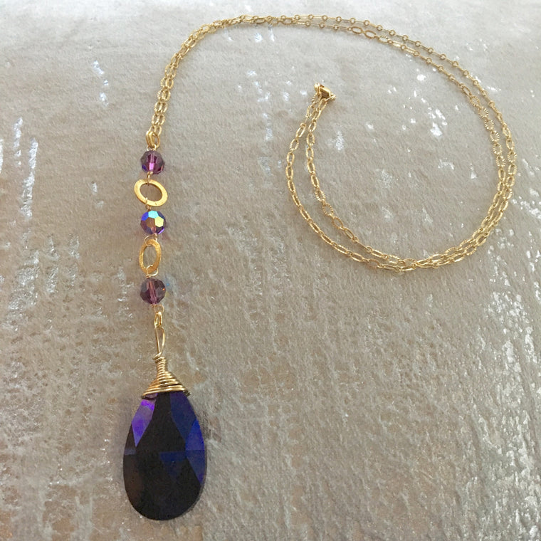 Long Pendant Gold Filled Dark Amethyst Teardrop Necklace