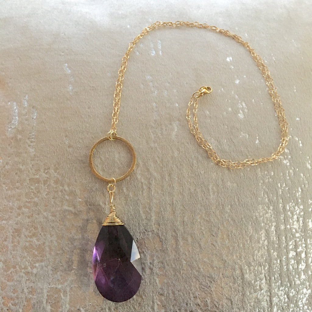 Long Pendant Gold Filled Large Amethyst Teardrop Necklace