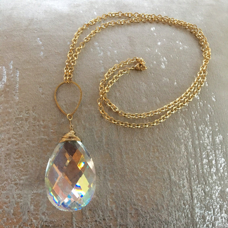 Long Pendant Large Crystal Gold Filled Necklace