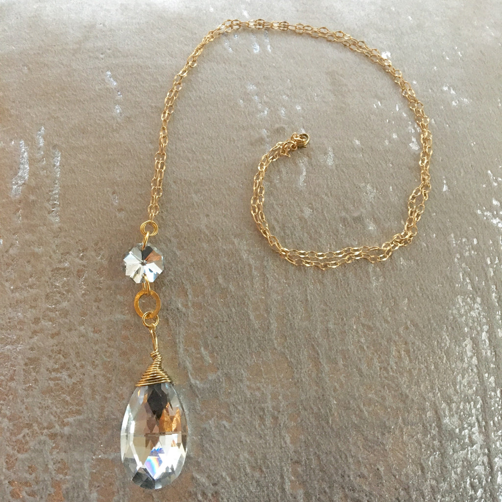 Long Pendant Silver Foil Teardrop Gold Filled Necklace