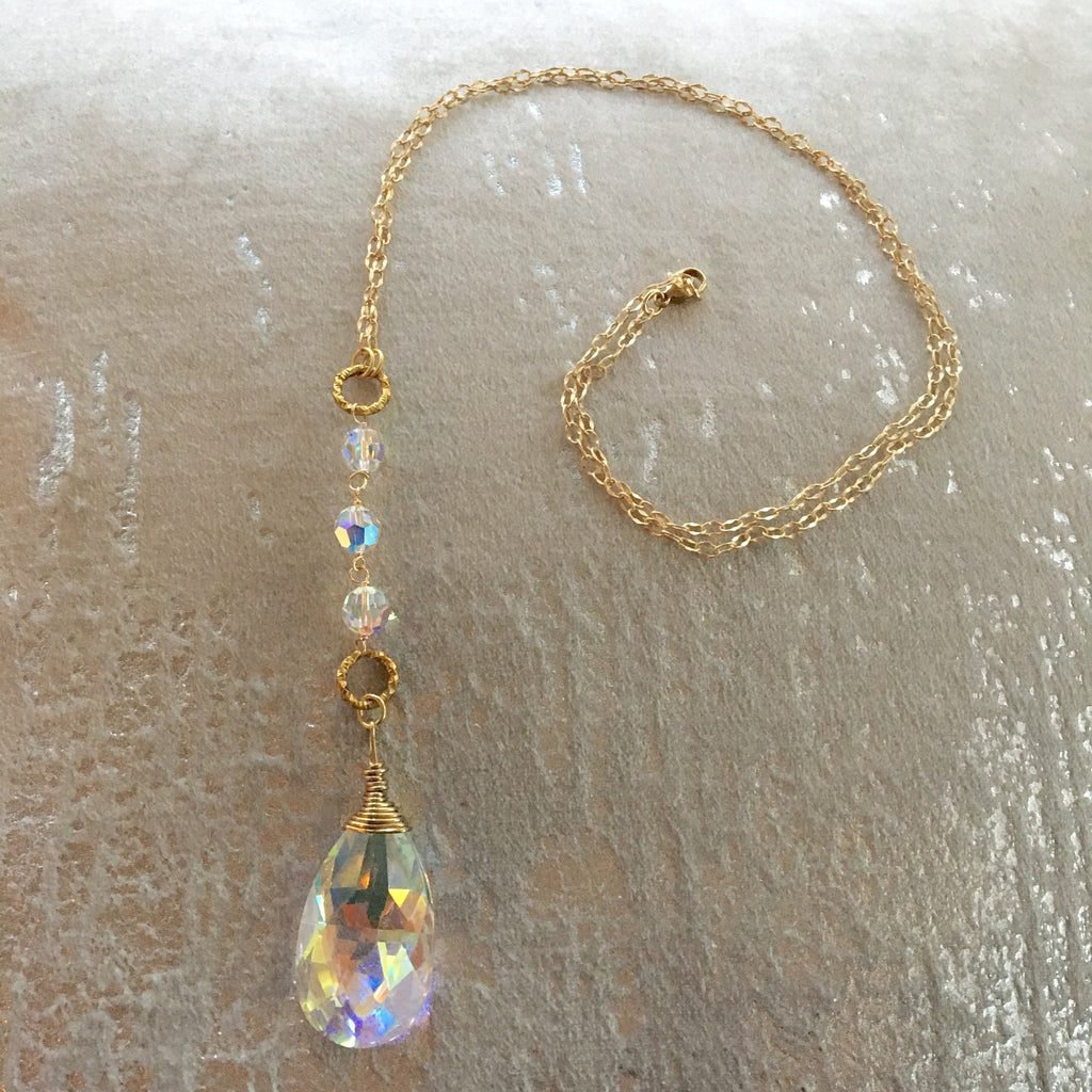 Long Pendant Crystal AB Teardrop Gold Filled Necklace
