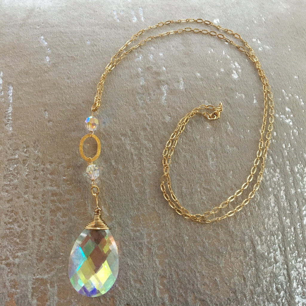 Long Pendant Crystal Teardrop Gold Filled Necklace