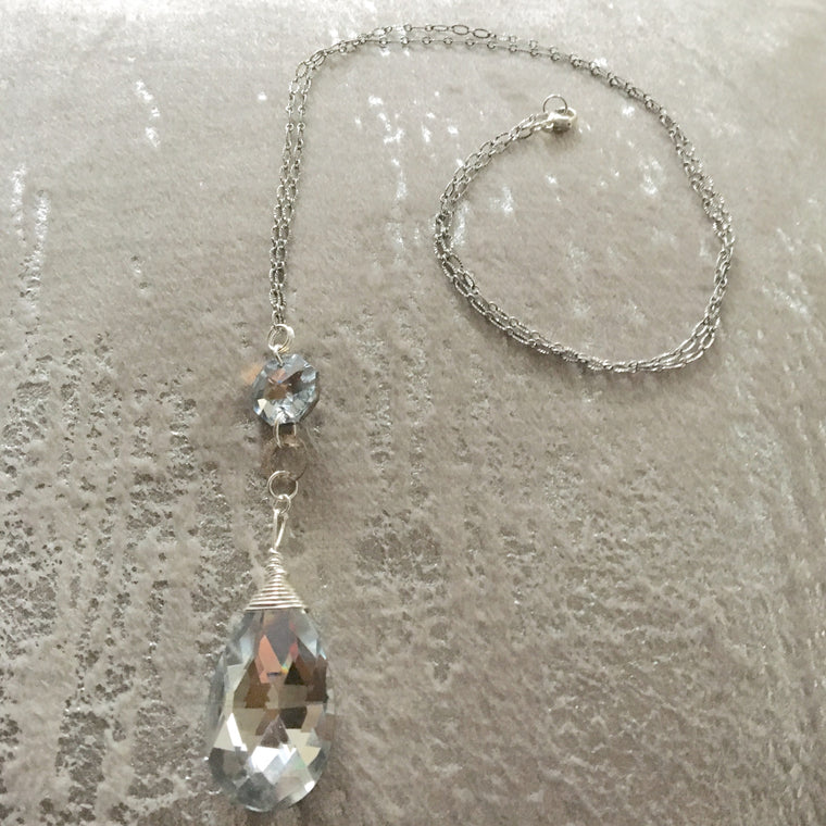 Long Pendant Silver Foil Teardrop Sterling Silver Necklace