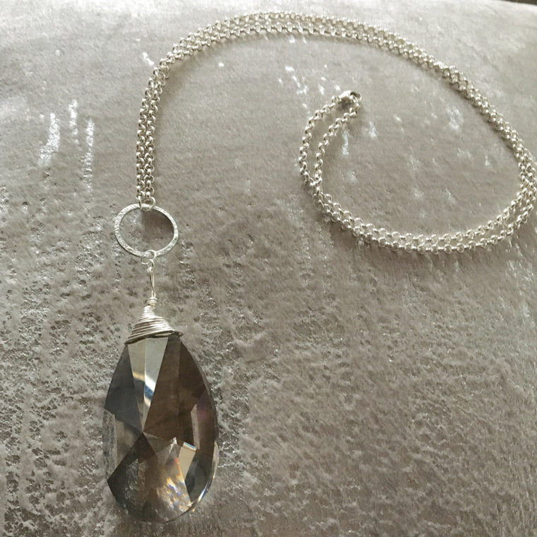 Long Pendant Large Silver Taupe Teardrop Necklace