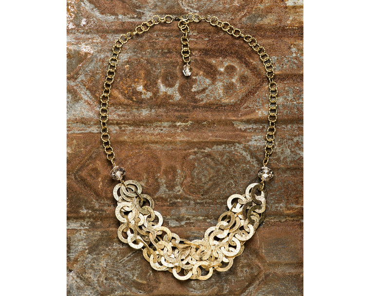 Gold Filled Multi Strand Etched Loop And Silver Shade Swarovski Crystal Necklace