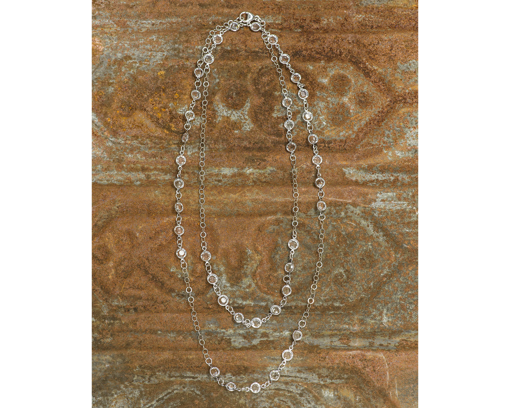 Long Sterling Silver 6mm Clear Swarovski Crystal Channel Link Necklace