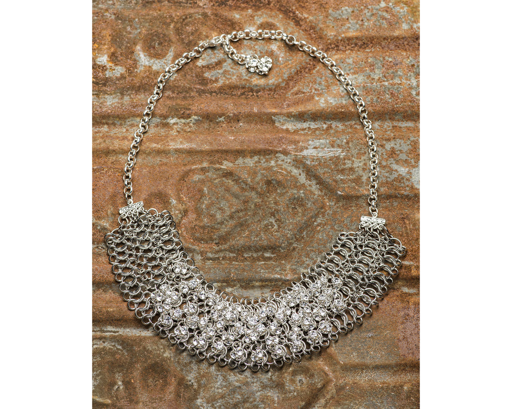 Sterling Silver Multi-Strand Collar Necklace With Swarovski Crystals