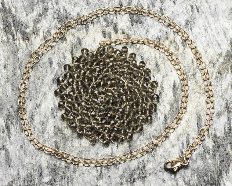 Gold Filled Charcoal Swarovski Crystal Woven Round Pendant Necklace