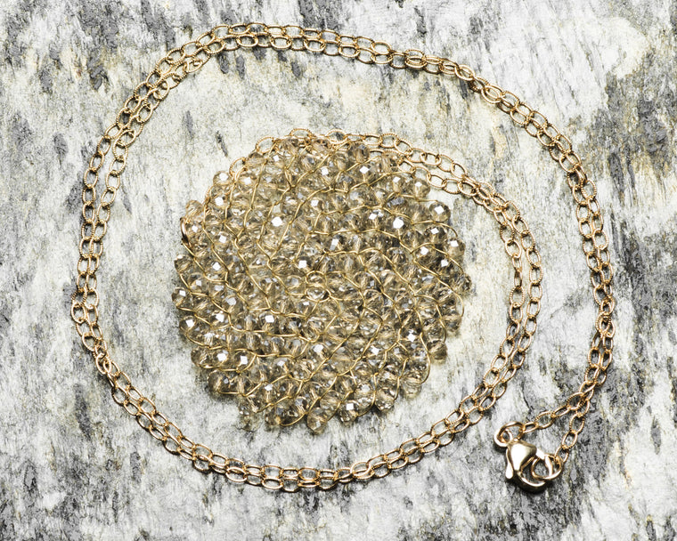 Gold Filled Light Silver Swarovski Crystal Woven Round Pendant Necklace