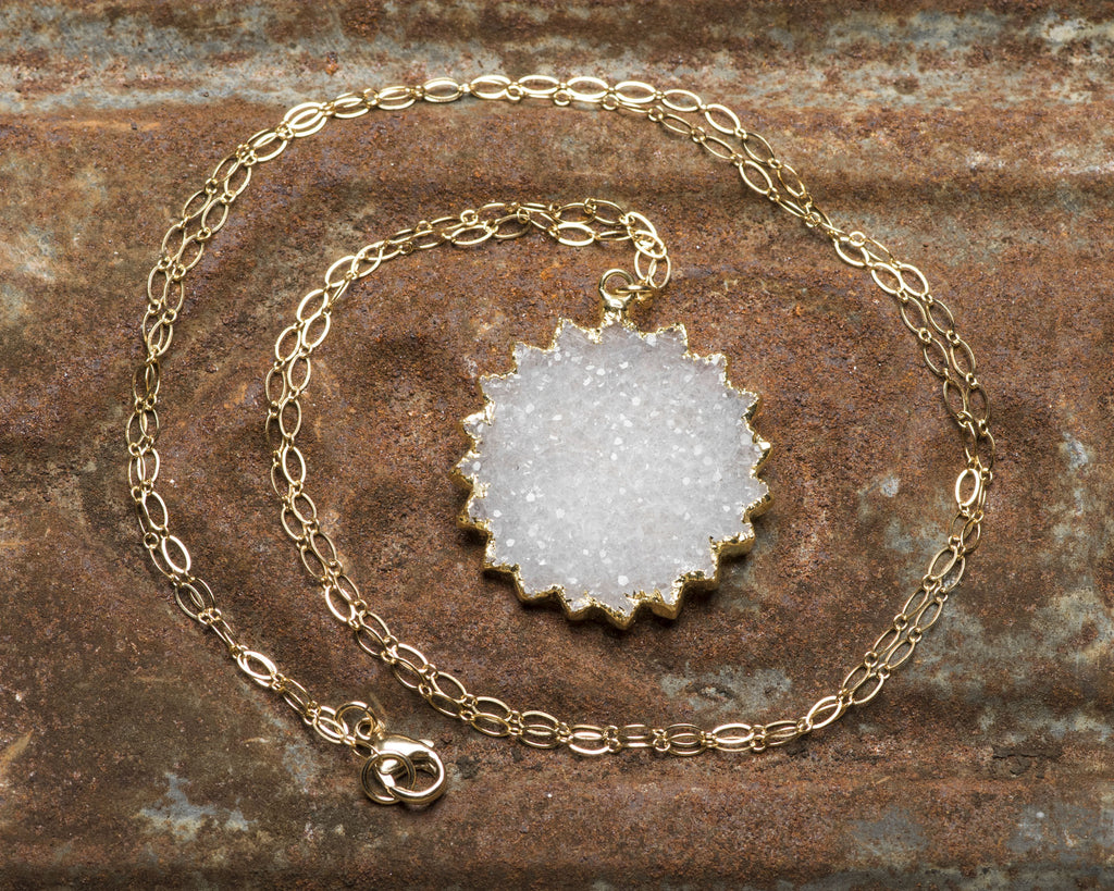 Gold Filled Winter White Sun/Snowflake Druzy Pendant Necklace