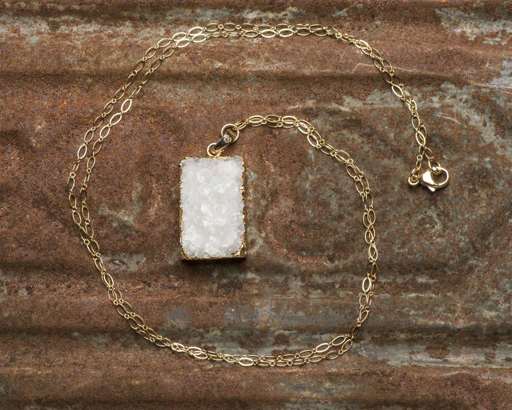 Gold Filled Winter White Rectangle Druzy Pendant Necklace