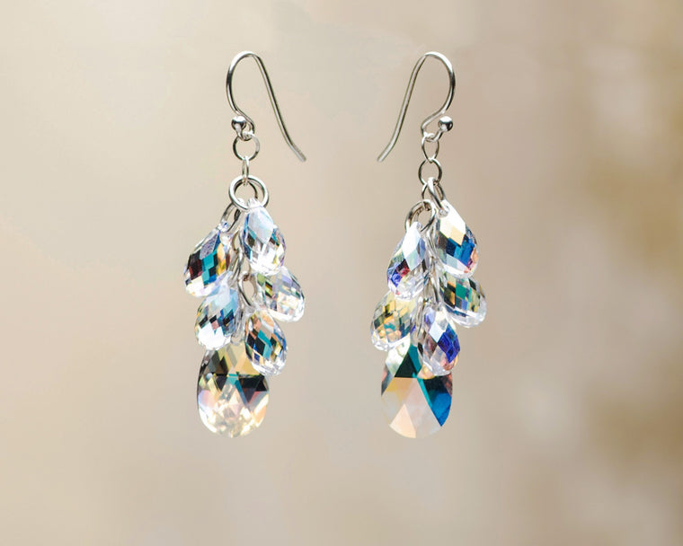 Crystal Pear Multi-Drop Earrings