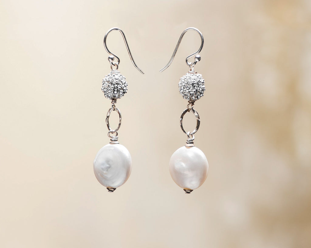 Pave Crystal and Coin Pearl Earrings