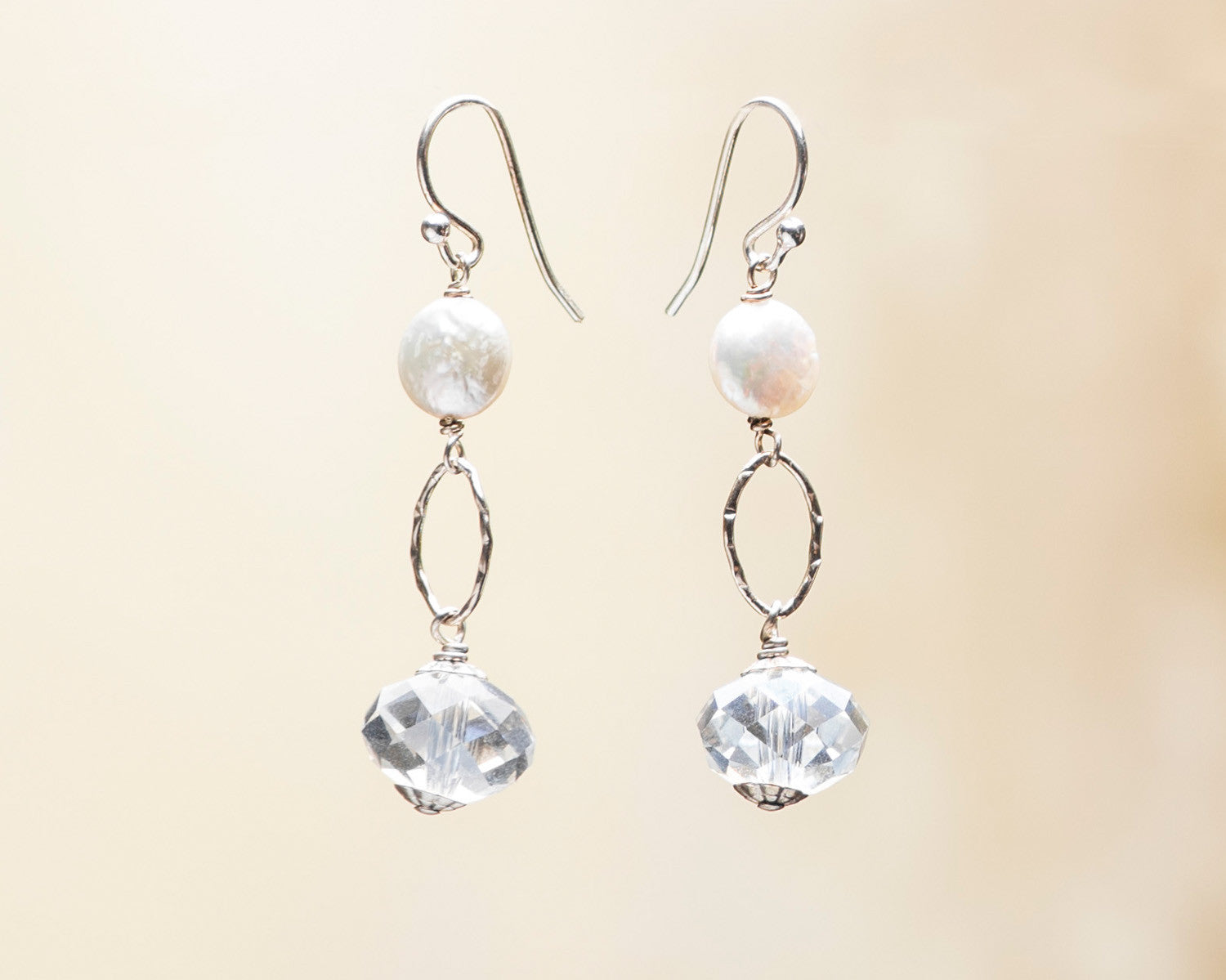 Crystal Rondelle And Coin Pearl Earrings