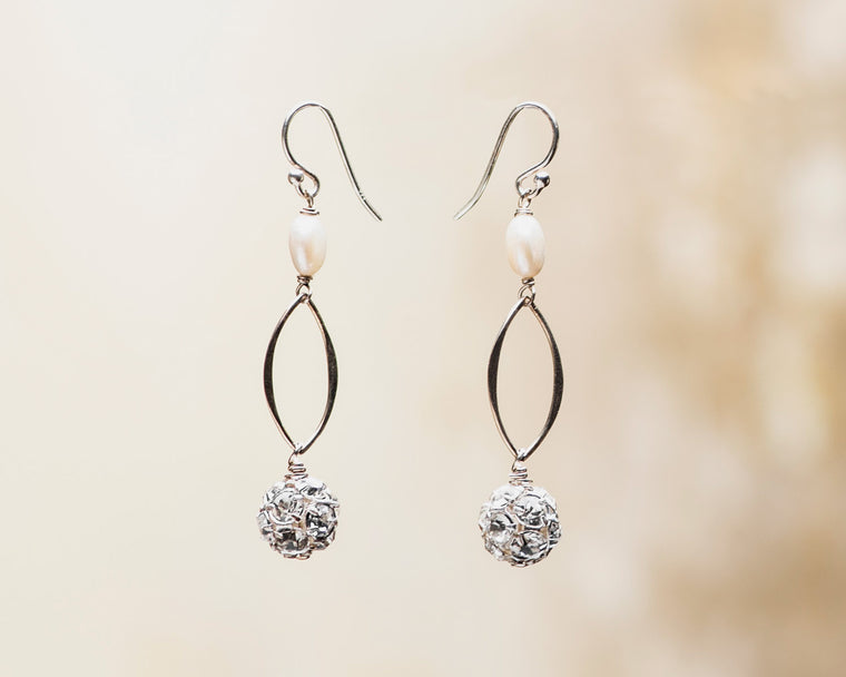 Crystal Rhinestone and Coin Pearl Earrings