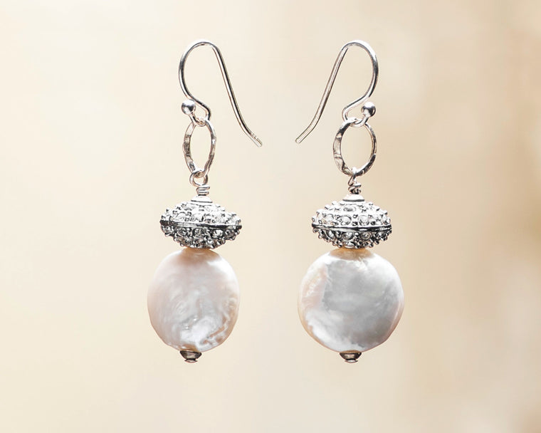 Crystal Pave Rondelle and Coin Pearl Earrings