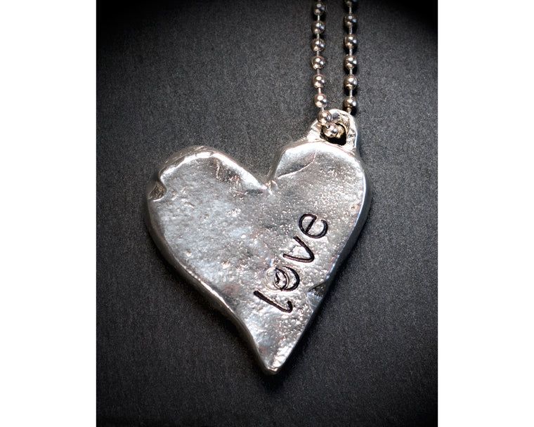 Heavy Metal Heart Pendant Necklace