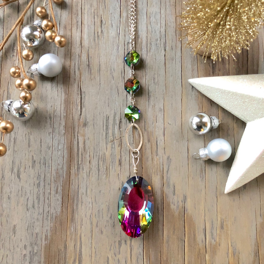 Bright Colored Crystal Long Drop Pendant Necklace  NEW